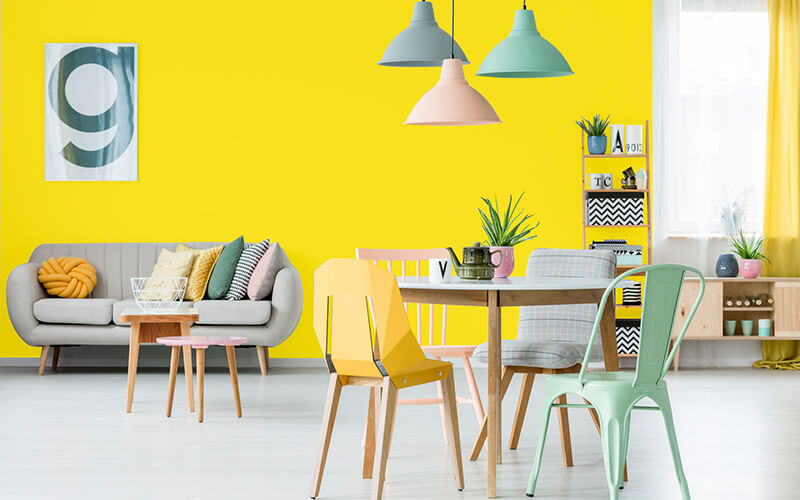 lemon yellow wall colors